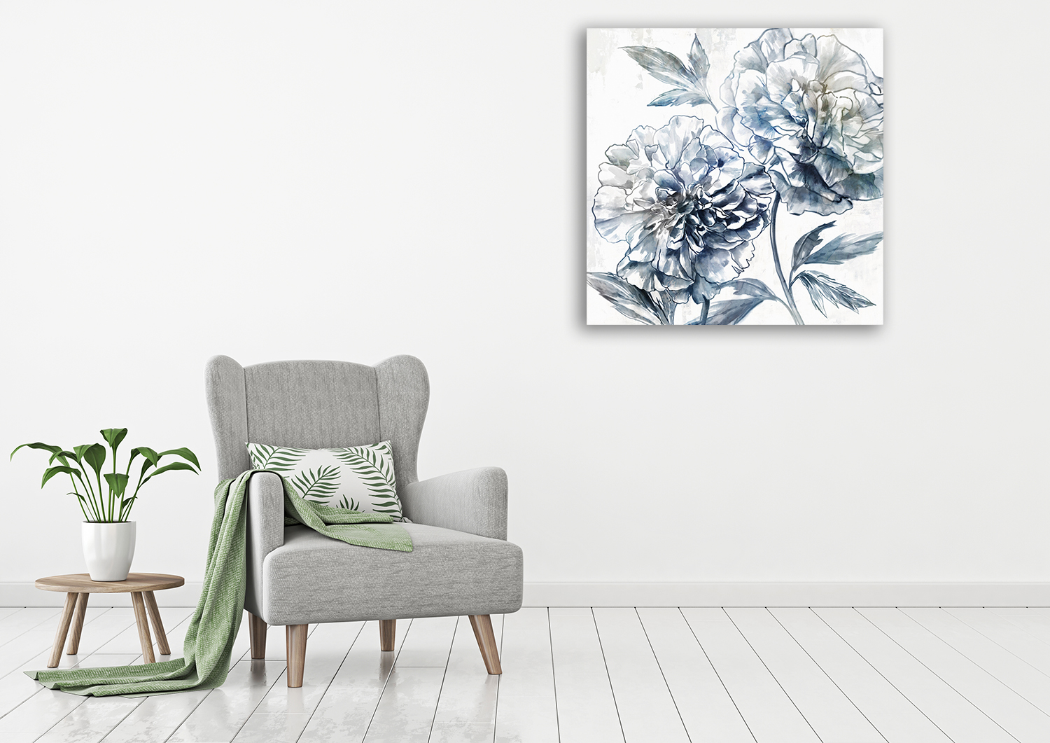 Square Floral Wall Art on Canvas