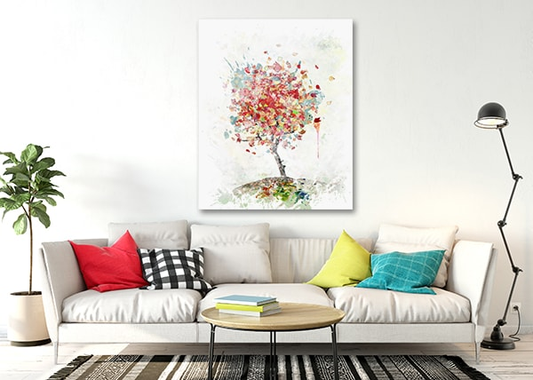 Watercolor Autumn Tree Canvas Prints on the Wall