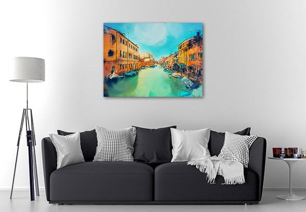 Watercolour Building in Venice Canvas Art