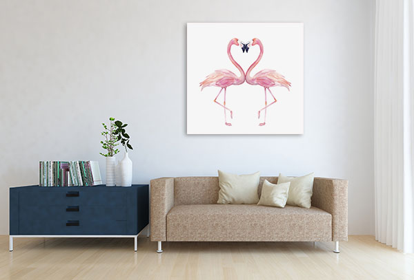Watercolour Flamingos Canvas Art Prints