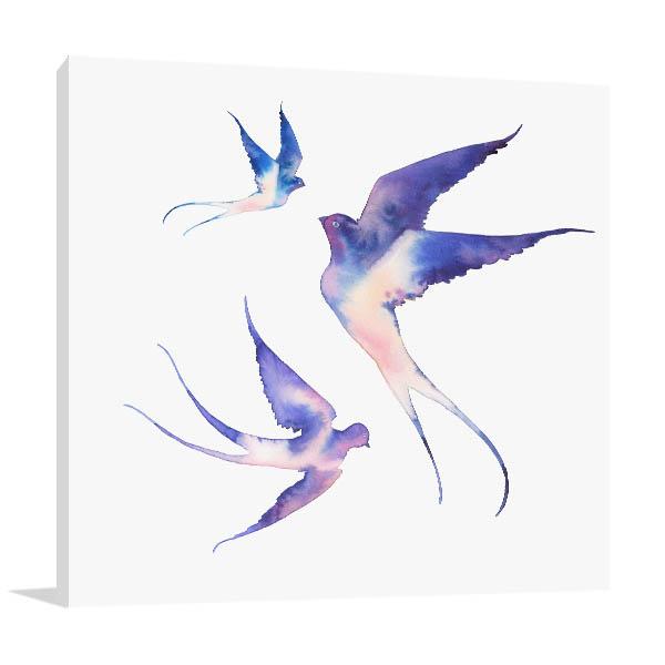 Watercolour Swallows Canvas Prints