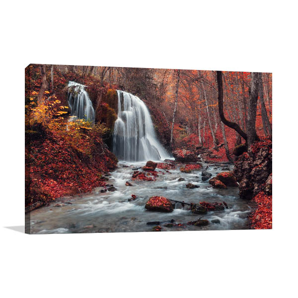 Waterfall In Autumn Canvas Art Prints
