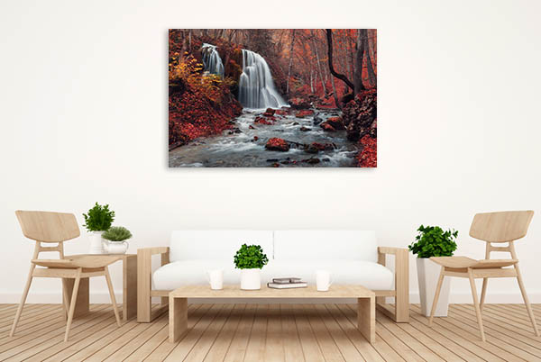 Waterfall In Autumn Canvas Prints
