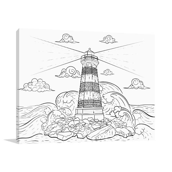 Waves and Lighthouse Print Artwork