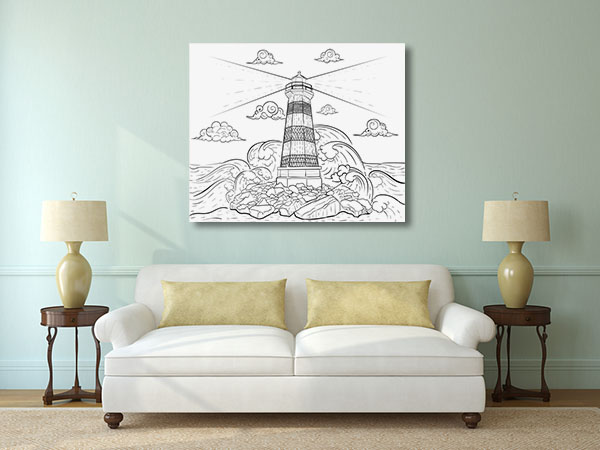 Waves and Lighthouse Canvas Prints