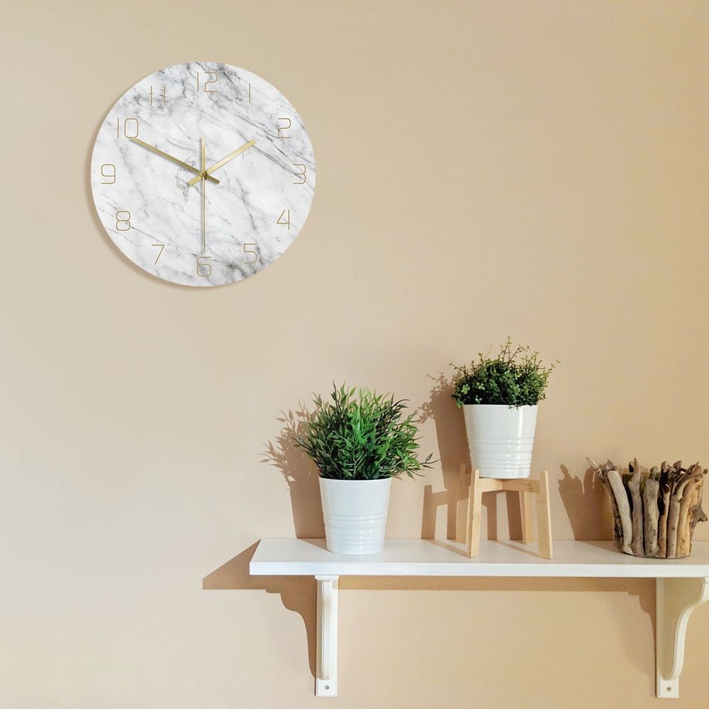 Silent Movement Marble Scandi Wall Clock Adelaide