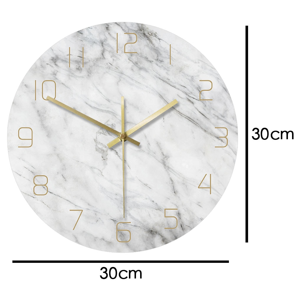 White Marble Scandi Wall Clock Needle Type Adelaide