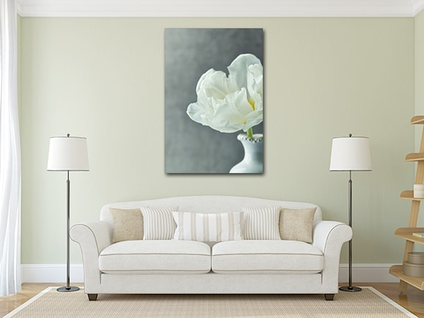 White Tulip Canvas Artwork on the Wall
