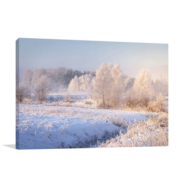 White Winter Forest Print on Canvas