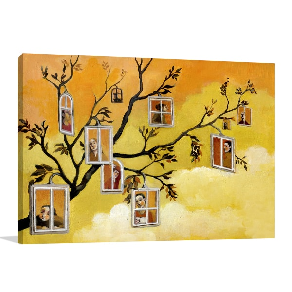 Windows in Branches Wall Canvas
