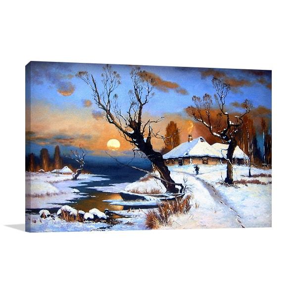 Winter Scene  Canvas Art Print