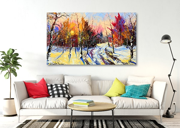 Winter Sunset Canvas Artwork on the Wall