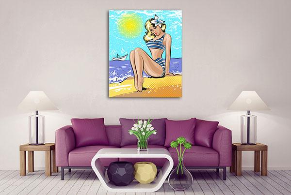 Woman In Swimsuit Canvas Art