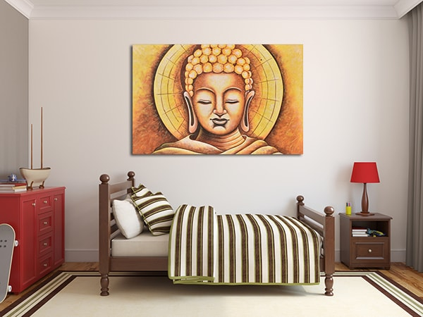 Wooden Buddha Print Art on the Wall