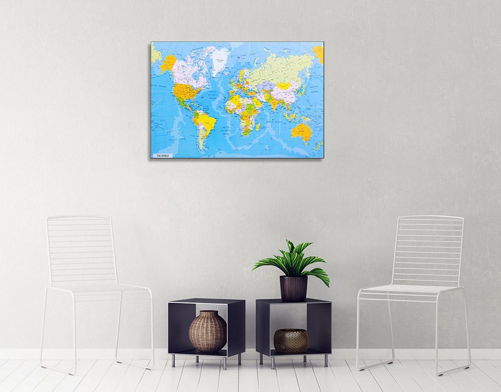 Blue Global Map Canvas Print