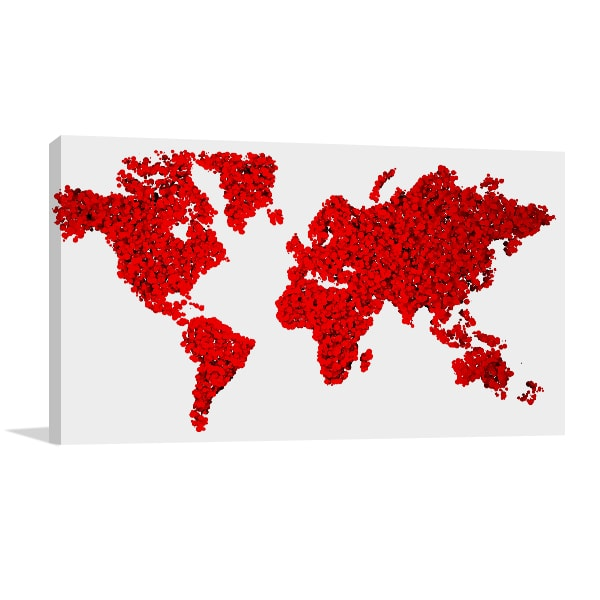World in Red Canvas Art Prints