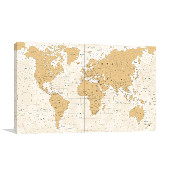 World Map Cartography Canvas Art