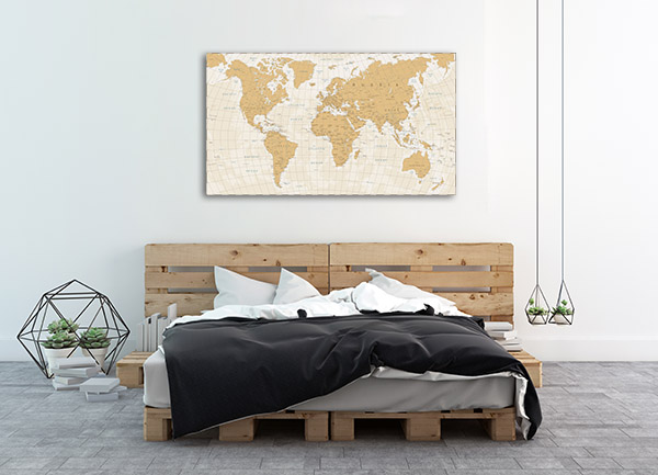 World Map Cartography Canvas Prints