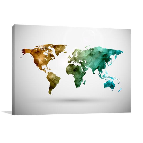 World Map Digital Canvas Art Prints