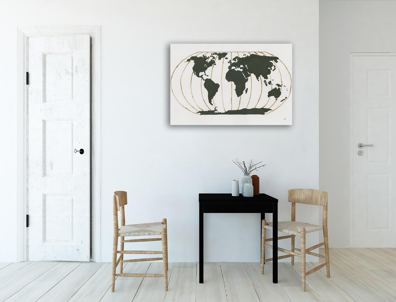 World Map Gold Lines Wall Art Print