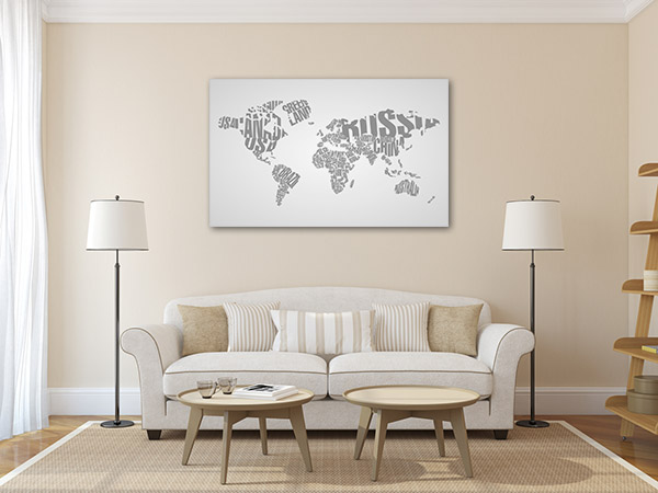 World Map in Typography Canvas Prints