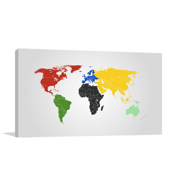 World Map Of Continents Art Prints