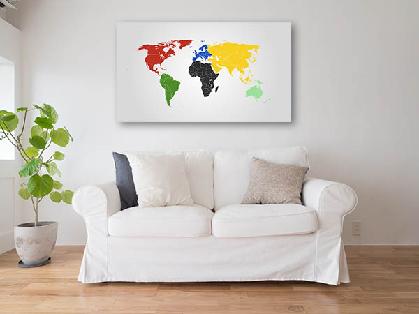 World Map Of Continents Canvas Prints