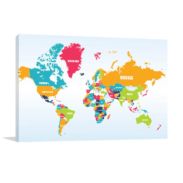 World Map Of Countries Print Artwork