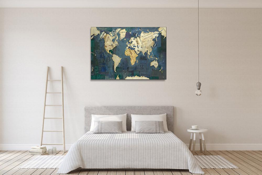 Countries Blue Green Art Map Print