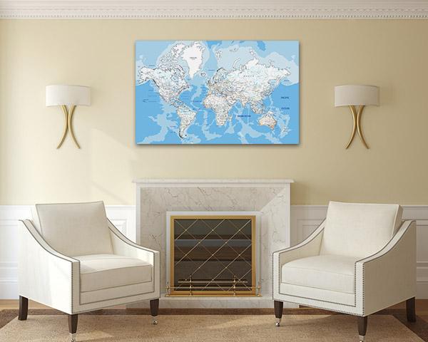 World Road Map Canvas Prints