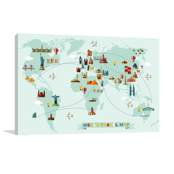 World Travel Map Prints Canvas