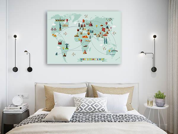 World Travel Map Canvas Prints