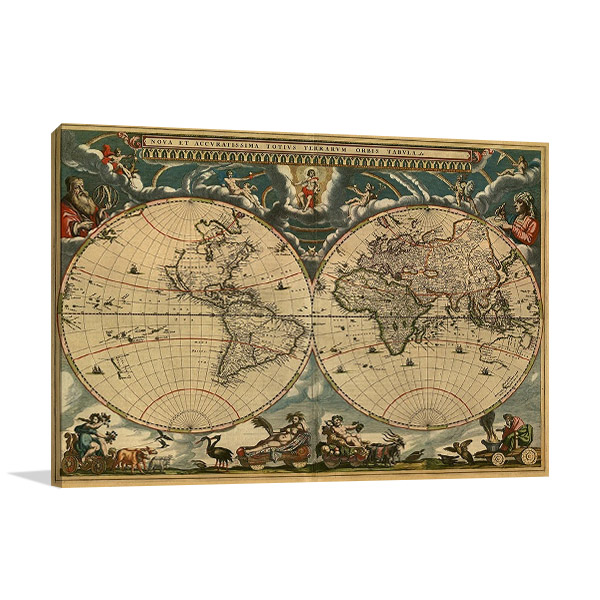 World Vintage Map Print on Canvas