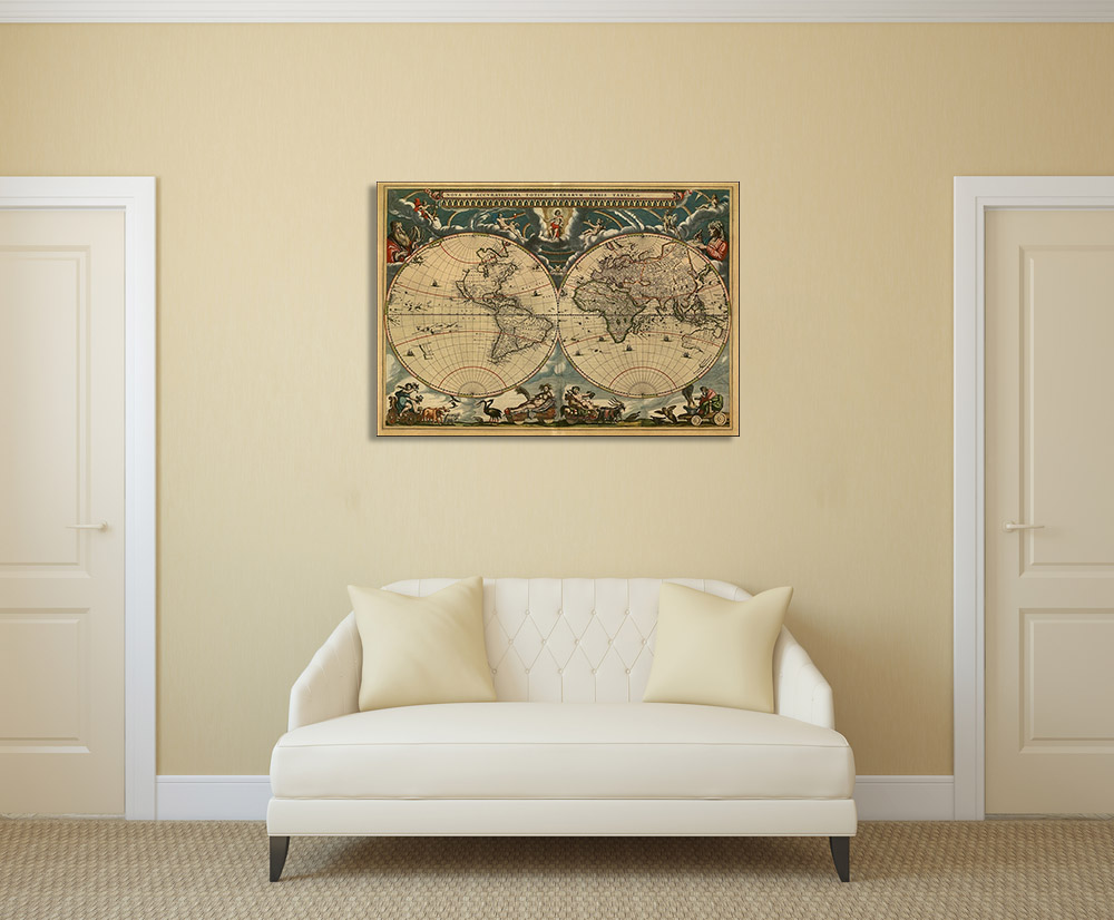 Vintage World Map Print on Canvas