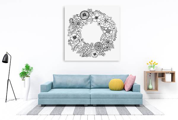 Wreath Of Flowers Prints Canvas