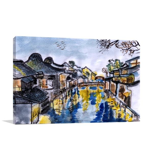 Wuzhen Village Canvas Art