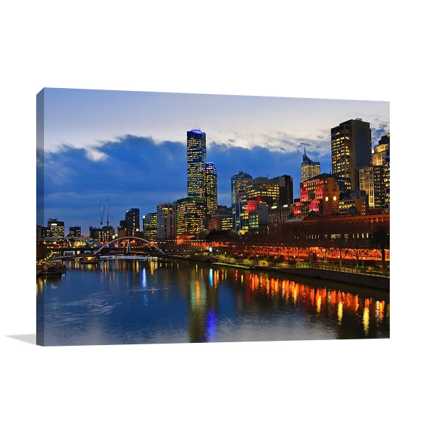 Melbourne Yarra River Night Scene Print