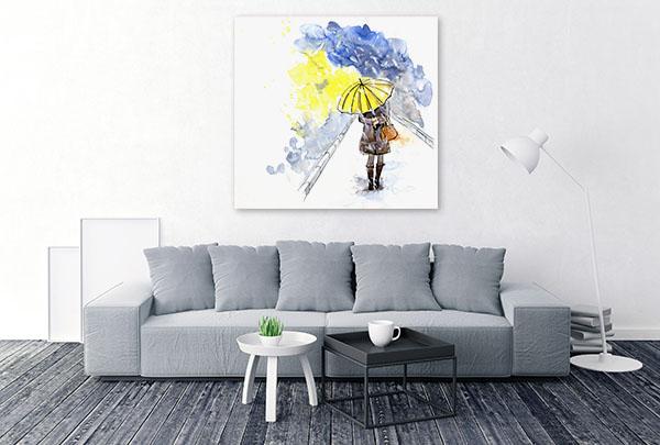 Yellow Umbrella Canvas Art Prints