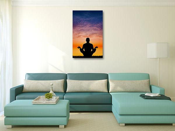Yoga in Sunset Canvas Art