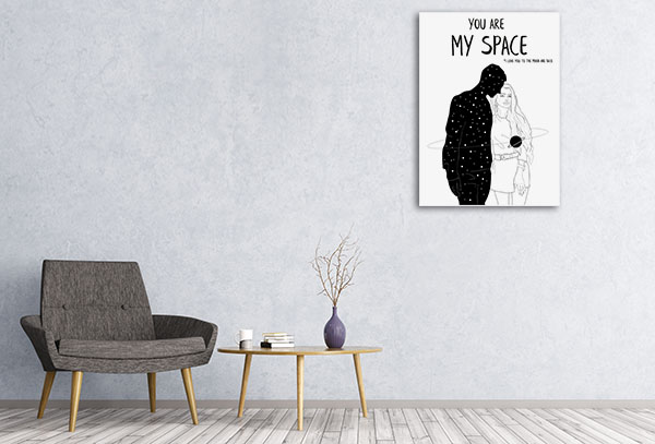 You Are My Space 1 Line Canvas Artwork