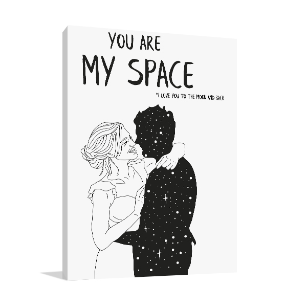 You Are My Space 3 Line Print Art Canvas