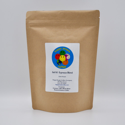Get Hi! Espresso Blend is a combination of 3 different coffee beans from Indonesia, Central America & South America that are roasted to two different roast levels to provide a full bodied, medium acidity espresso blend coffee that boasts a smoky yet smooth flavor with a light chocolate finish that is perfect in cappuccinos and lattes as well as a stand alone coffee.