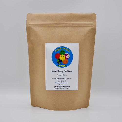 Our house blend, Super Happy Fun Blend is a complex roast combining Indonesian, African and American beans in three different roasts. A full bodied, medium to high acidity coffee that starts with a slight smokey flavor that follows with hints of rich, dark chocolate and nut and has a clean finish that leaves almost no discernible aftertaste for a perfect coffee that will make you happy all day long.