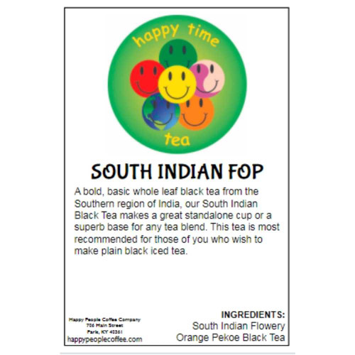 A bold, basic whole leaf black tea from the Southern region of India, our South Indian Black Tea makes a great standalone cup or a superb base for any tea blend. This tea is most recommended for those of you who wish to make plain black iced tea.  INGREDIENTS: South Indian Flowery Orange Pekoe Black Tea