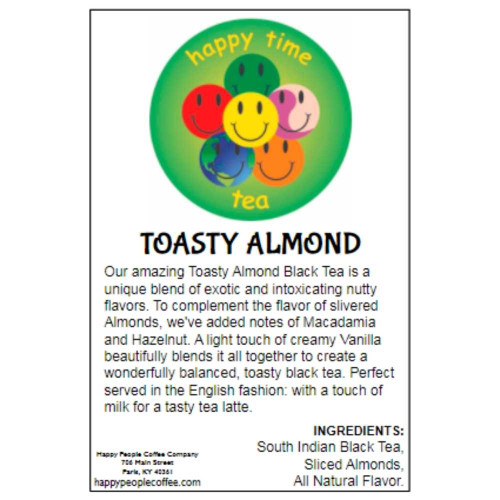 Our amazing Toasty Almond Black Tea is a unique blend of exotic and intoxicating nutty flavors. To complement the flavor of slivered Almonds, we've added notes of Macadamia and Hazelnut. A light touch of creamy Vanilla beautifully blends it all together to create a wonderfully balanced, toasty black tea. Perfect served in the English fashion: with a touch of milk for a tasty tea latte.  INGREDIENTS: South Indian Black Tea, Sliced Almonds, All Natural Flavor.