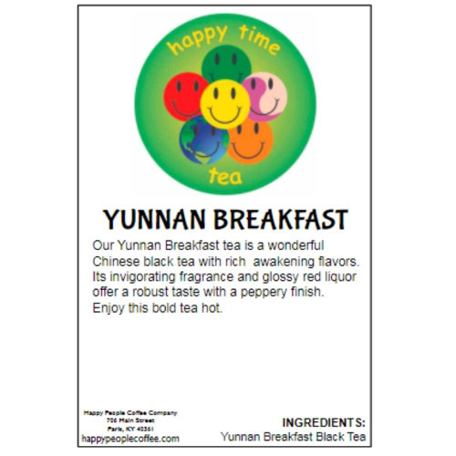 Our Yunnan Breakfast tea is a wonderful Chinese black tea with rich awakening flavors. Its invigorating fragrance and glossy red liquor offer a robust taste with a peppery finish. Enjoy this bold tea hot.  INGREDIENTS: Yunnan Breakfast Black Tea