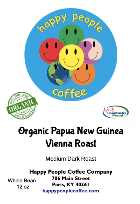 Full Bodied - Low Acidity  This organic, fair trade coffee is shade grown under original growth jungle. Papua Vienna is wonderfully smooth, sweet and complex for an Indonesian coffee. Strong but sweet with a full aftertaste it features notes of brown sugar and molasses, with a hint of nutmeg in the finish.  Certified Organic - Fair Trade - Shade Grown