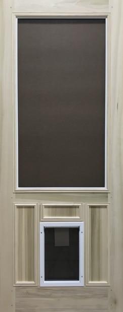 """Quick Ship - Premium Series Wood Screen Doors - Pet Door - 29-3/4"""" x 81"""" Poplar"""