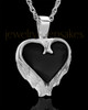 Remembrance Pendant Sterling Silver Onyx Winged Heart Keepsake