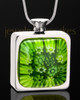 Stainless Steel Emerald Isle Square Keepsake Pendant